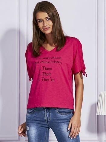 Ciemnoróżowy t-shirt YOU MUST CHOOSE