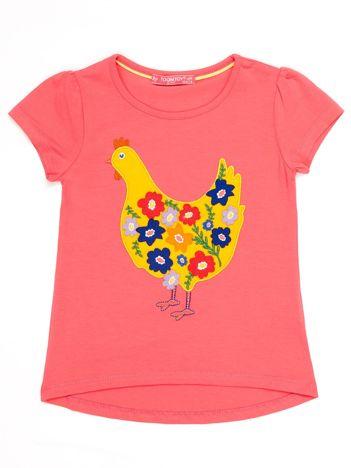 Ciemnoróżowy t-shirt dziewczęcy z naszywką kury