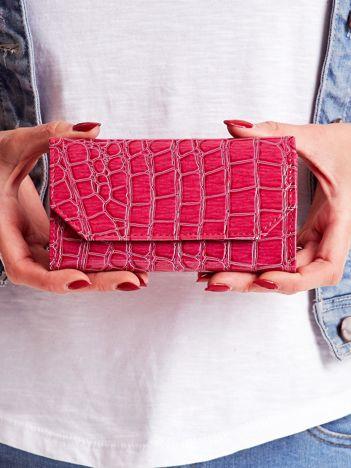 Ciemnoróżowy tłoczony portfel damski ze skóry ekologicznej