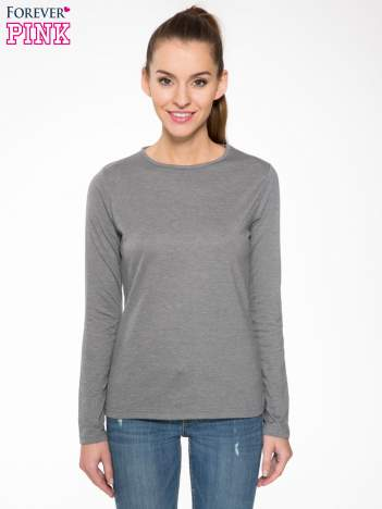 Ciemnoszara bawełniana bluzka typu basic z długim rękawem