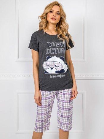 Ciemnoszara bawełniana piżama z nadrukiem