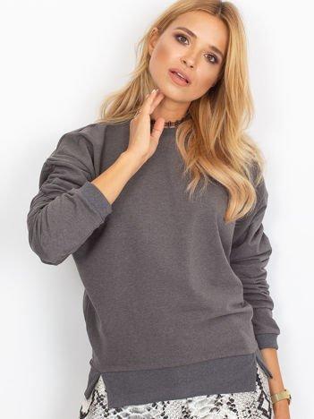 Ciemnoszara bluza damska z marszczonymi rękawami