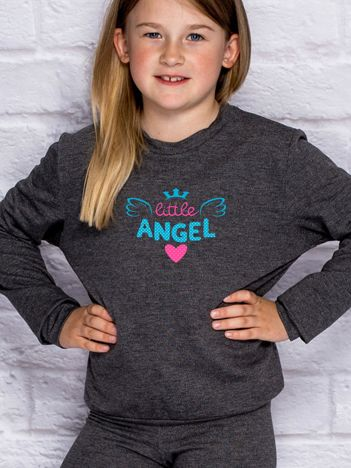 Ciemnoszara bluza dla dziewczynki LITTLE ANGEL