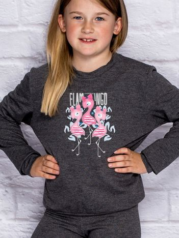 Ciemnoszara bluza dla dziewczynki z flamingami