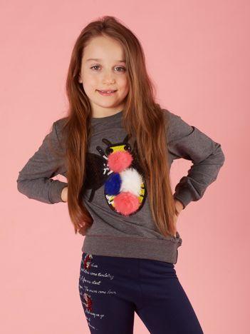 Ciemnoszara bluza dla dziewczynki z kolorową aplikacją