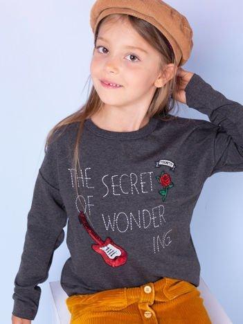 Ciemnoszara bluza dla dziewczynki z naszywkami