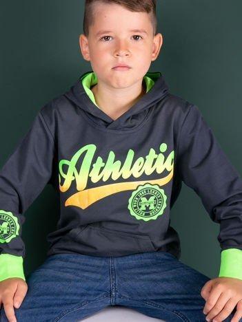 Ciemnoszara bluza dla z kapturem dla chłopca