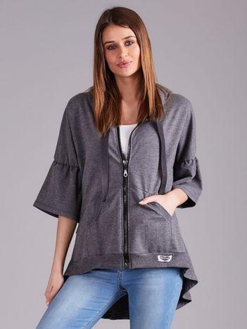 Ciemnoszara bluza dresowa z szerokimi rękawami