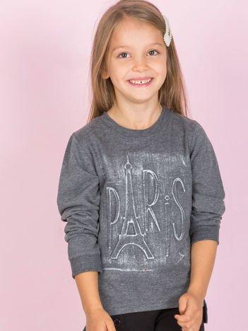 Ciemnoszara bluza dziecięca bawełniana z tłoczonym napisem