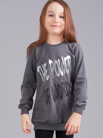 Ciemnoszara bluza dziewczęca z nadrukiem i aplikacją