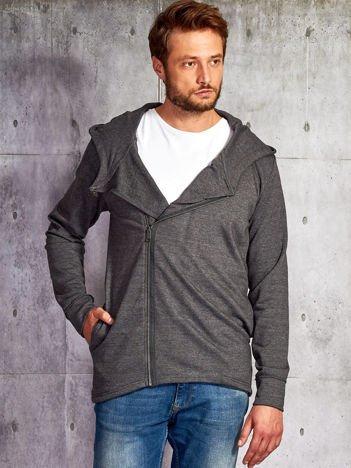 Ciemnoszara bluza męska z asymetrycznym suwakiem