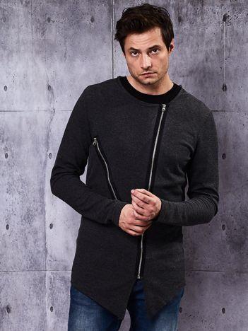 Ciemnoszara bluza męska z asymetrycznymi suwakami