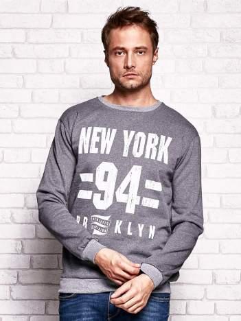 Ciemnoszara bluza męska z napisem NEW YORK