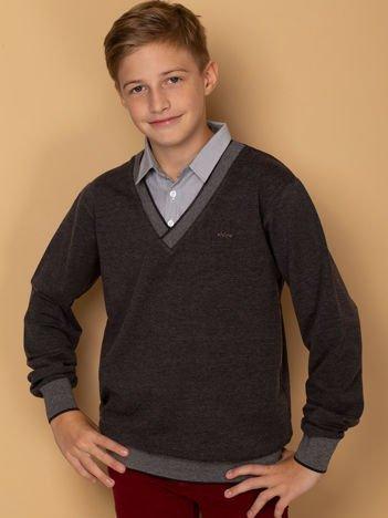 Ciemnoszara bluza z koszulą dla chłopca
