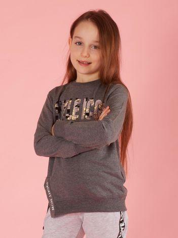 Ciemnoszara bluzka dziewczęca z cekinowym napisem