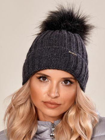 Ciemnoszara damska czapka na zimę