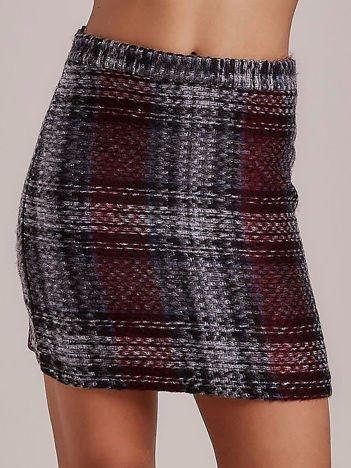 Ciemnoszara dzianinowa spódnica mini w kratę