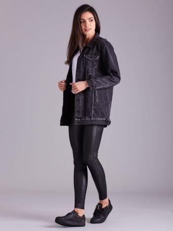Ciemnoszara kurtka jeansowa