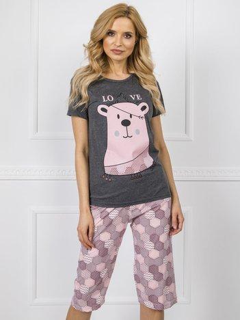 Ciemnoszara piżama we wzory