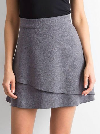 Ciemnoszara spódnica z asymetryczną falbaną