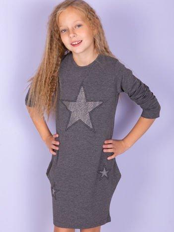 Ciemnoszara sukienka dla dziewczynki z gwiazdami z dżetów