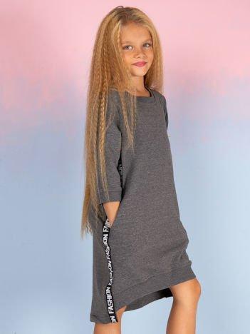Ciemnoszara sukienka dla dziewczynki z ozdobną taśmą