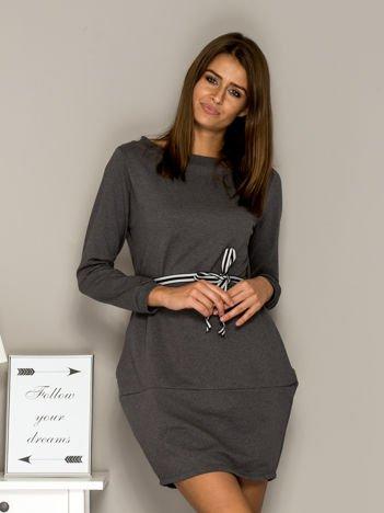 Ciemnoszara sukienka dresowa z wiązaniem