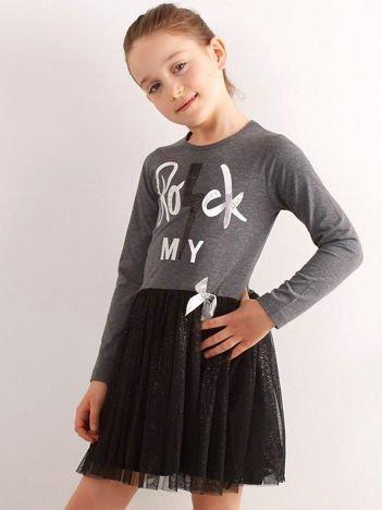 Ciemnoszara sukienka z bawełny dla dziewczynki