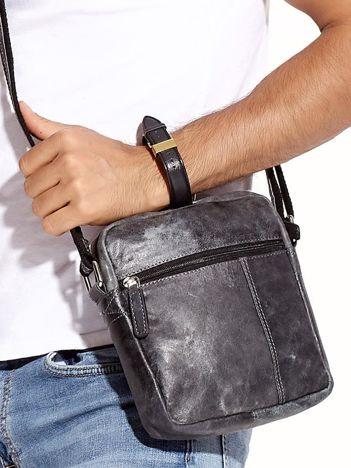 Ciemnoszara torba męska z przetarciami