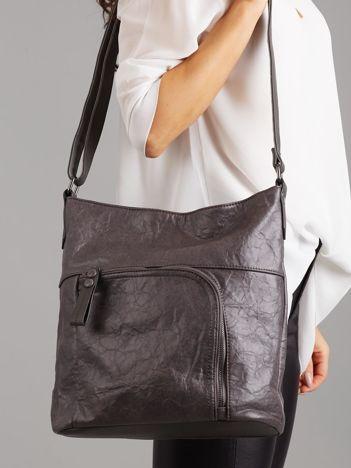 Ciemnoszara torba z asymetryczną kieszenią