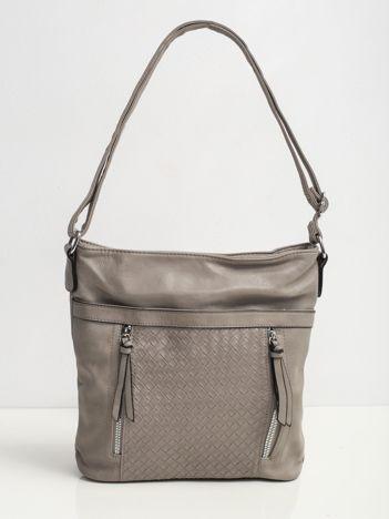Ciemnoszara torba z motywem plecionki