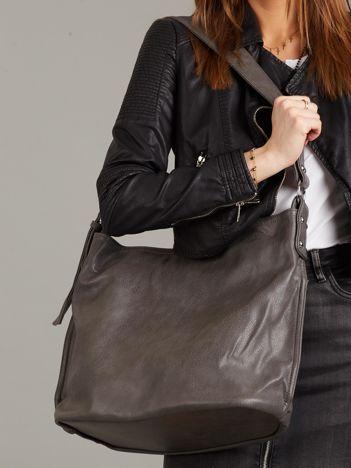 Ciemnoszara torba ze skóry ekologicznej