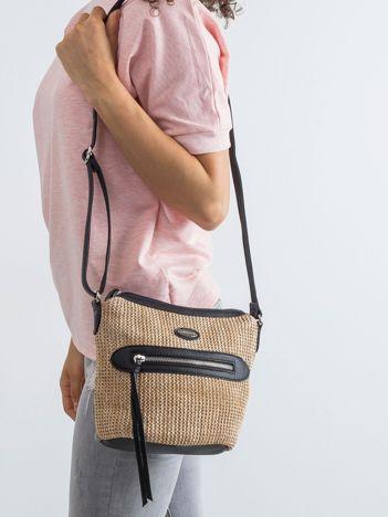 Ciemnoszara torebka z plecioną wstawką