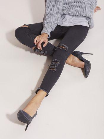 Ciemnoszare jeansy high waist z wysokim stanem