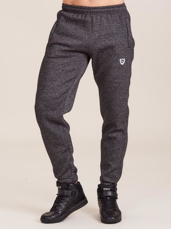 Ciemnoszare ocieplane męskie spodnie dresowe