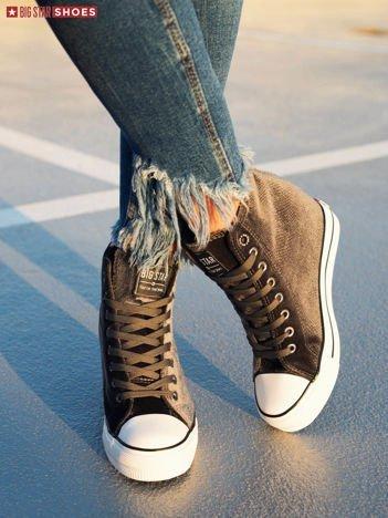 Ciemnoszare sneakersy BIG STAR z tłoczonego, półbłyszczącego materiału