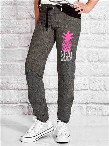 Ciemnoszare spodnie dresowe dla dziewczynki NIEZŁY ANANAS