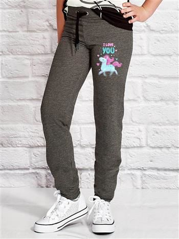 Ciemnoszare spodnie dresowe dla dziewczynki z kolorowym jednorożcem
