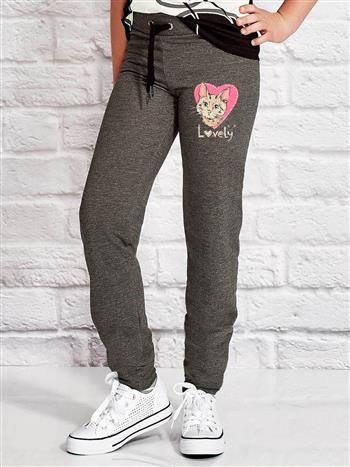 Ciemnoszare spodnie dresowe dla dziewczynki z nadrukiem kota