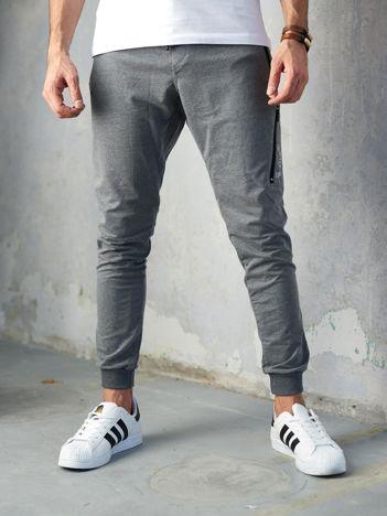 Ciemnoszare spodnie dresowe męskie slim fit