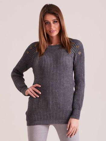 Ciemnoszary damski dzianinowy sweter