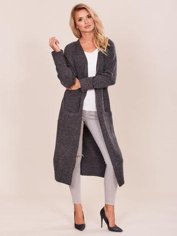 Ciemnoszary długi sweter damski