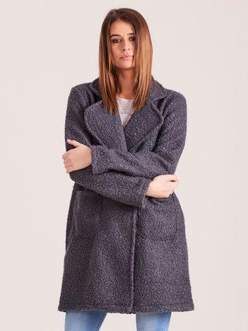 Ciemnoszary dzianinowy damski płaszcz