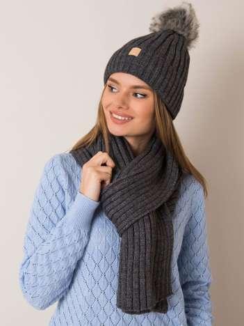 Ciemnoszary komplet damski czapka i szalik RUE PARIS