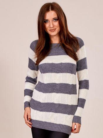 Ciemnoszary sweter damski w paski