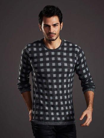 Ciemnoszary sweter męski w pleciony wzór