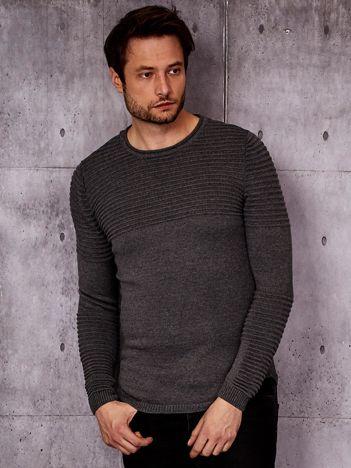 Ciemnoszary sweter męski w prążkowane moduły