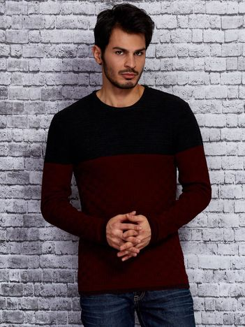 Ciemnoszary sweter męski z plecionym modułem