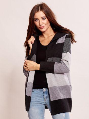 Ciemnoszary sweter w paski z kapturem