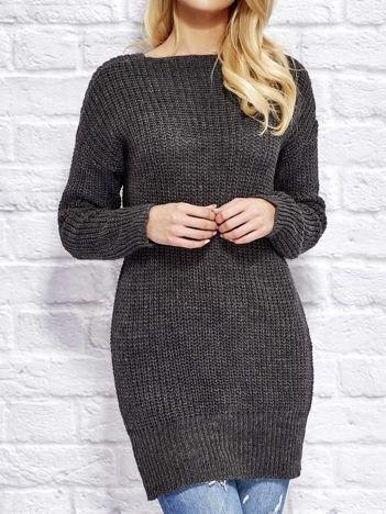 Ciemnoszary sweter z wiązaniem